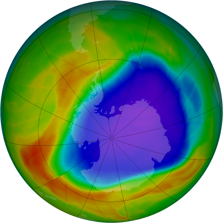 Antarctic ozone map for 11 October 2009