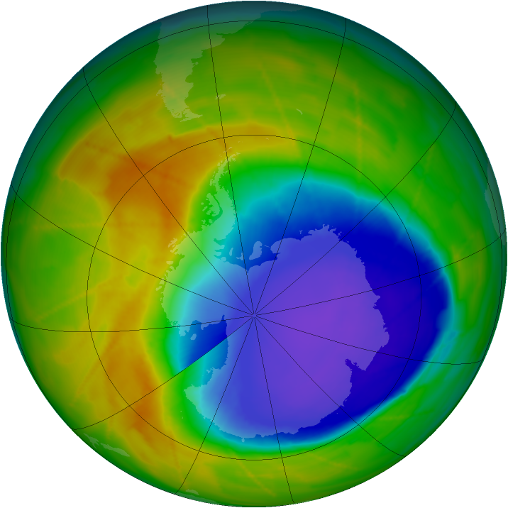 Antarctic ozone map for 21 October 2009