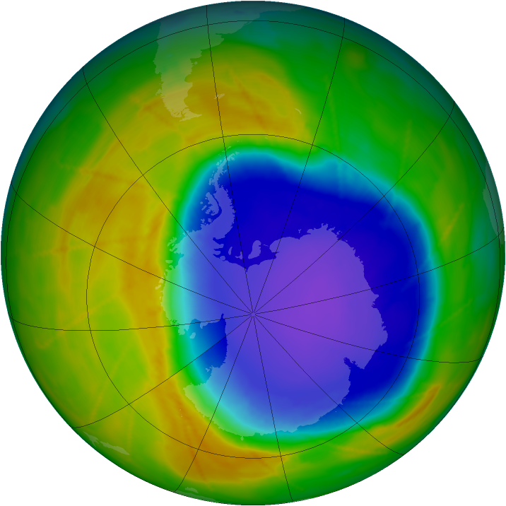 Antarctic ozone map for 24 October 2009