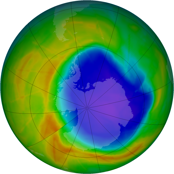 Antarctic ozone map for 25 October 2009