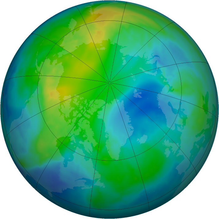 Arctic ozone map for 30 October 2009