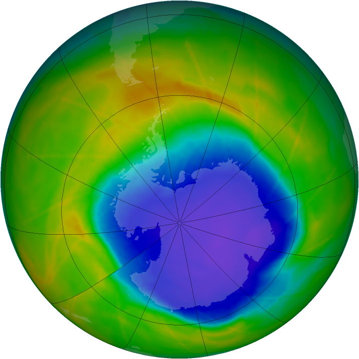 Antarctic ozone map for 30 October 2009