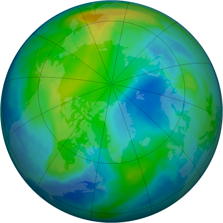 Arctic ozone map for 31 October 2009
