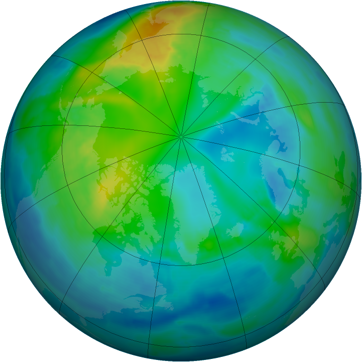 Arctic ozone map for 02 November 2009