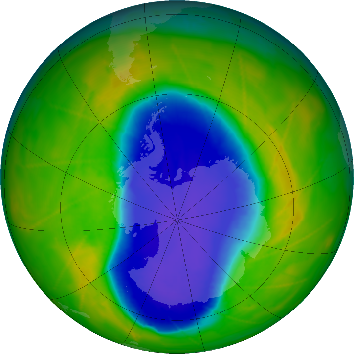 Antarctic ozone map for 04 November 2009