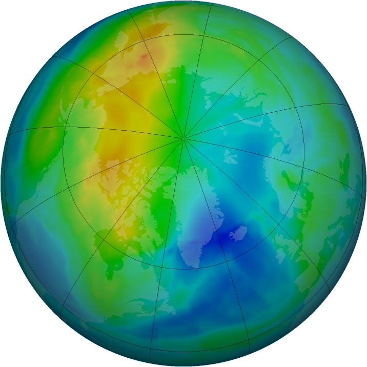Arctic ozone map for 05 November 2009