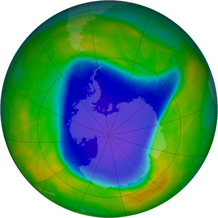 Antarctic ozone map for 08 November 2009