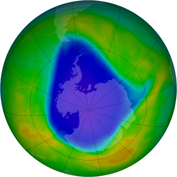 Antarctic ozone map for 09 November 2009