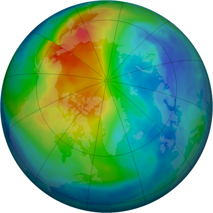 Arctic ozone map for 11 November 2009