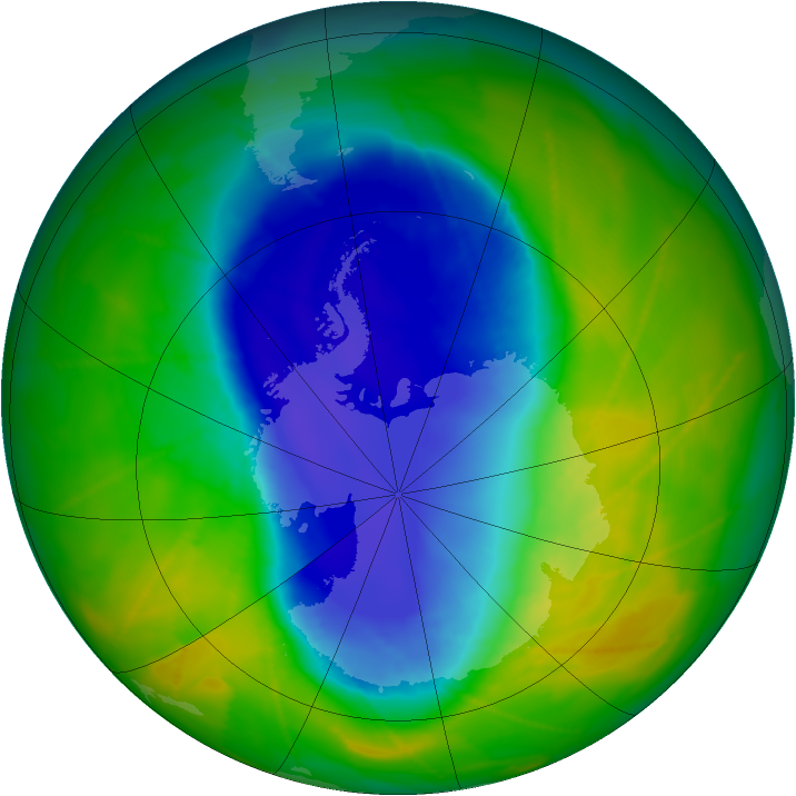 Antarctic ozone map for 13 November 2009