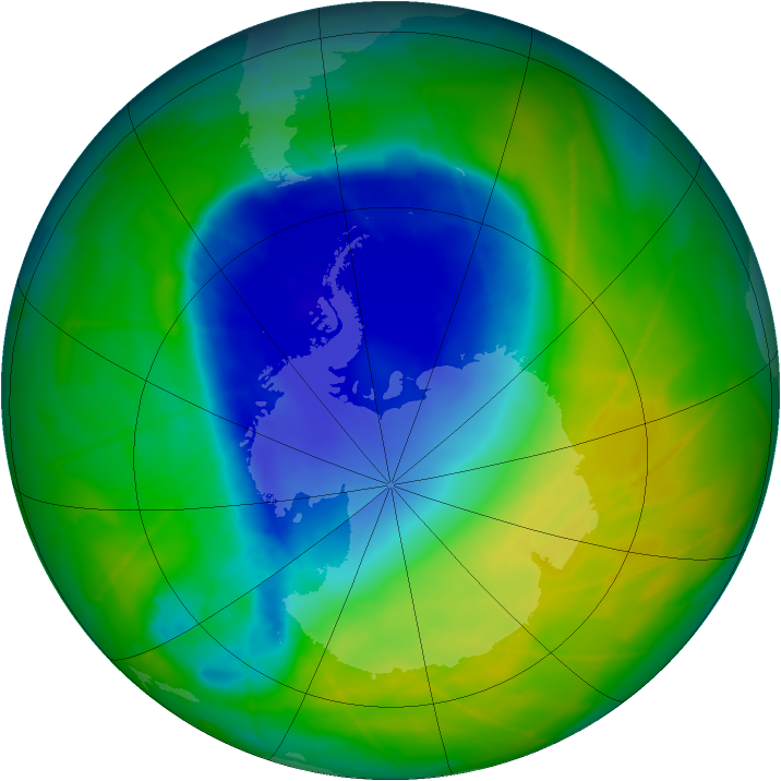 Antarctic ozone map for 17 November 2009