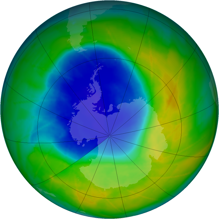 Antarctic ozone map for 20 November 2009
