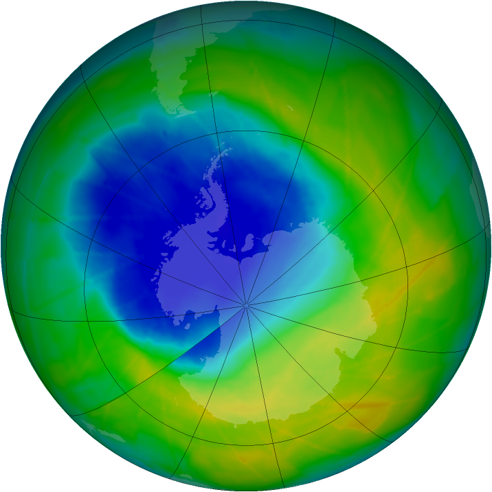 Antarctic ozone map for 22 November 2009