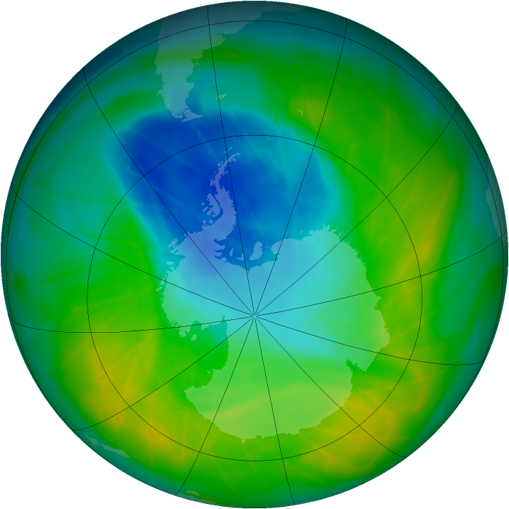 Antarctic ozone map for 28 November 2009