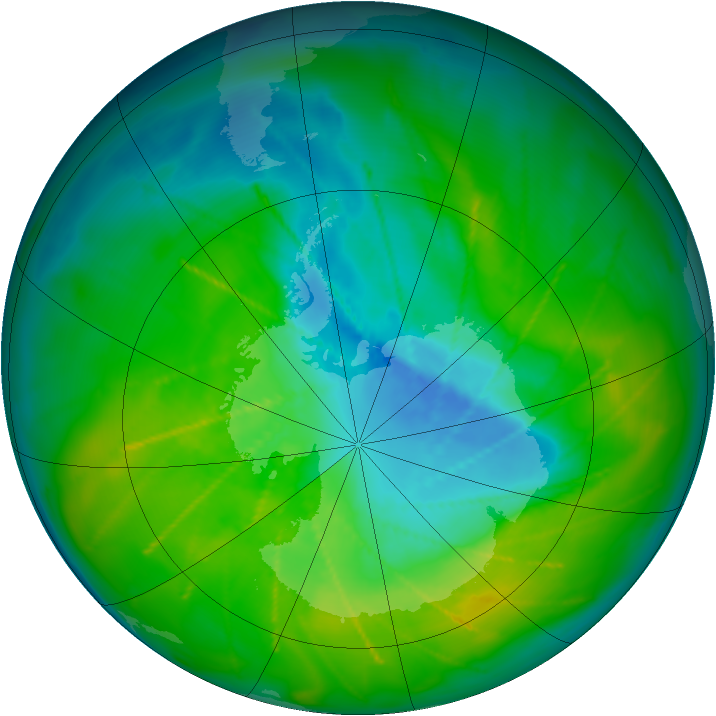 Antarctic ozone map for 03 December 2009