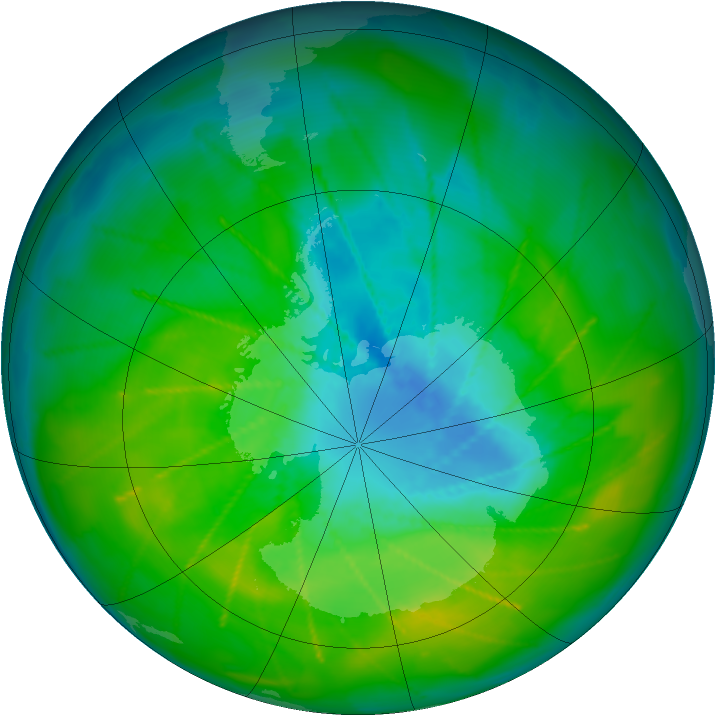 Antarctic ozone map for 04 December 2009