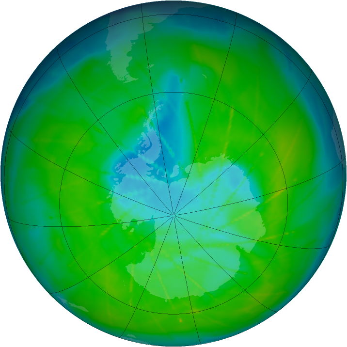 Antarctic ozone map for 12 December 2009