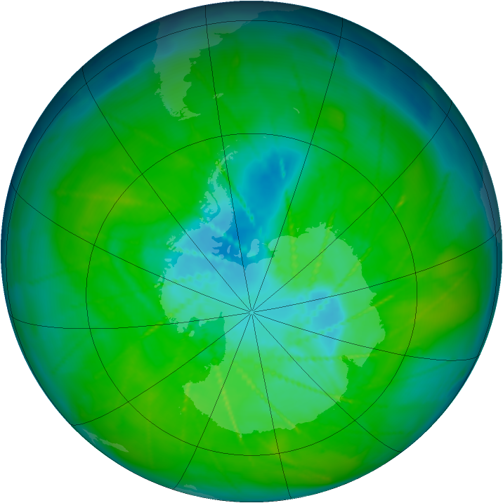 Antarctic ozone map for 14 December 2009