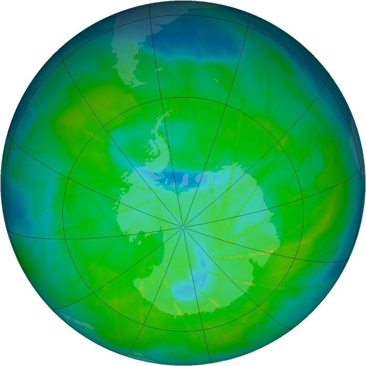Antarctic ozone map for 19 December 2009