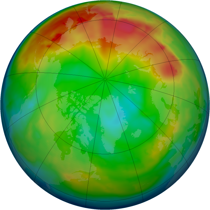 Arctic ozone map for 23 December 2009