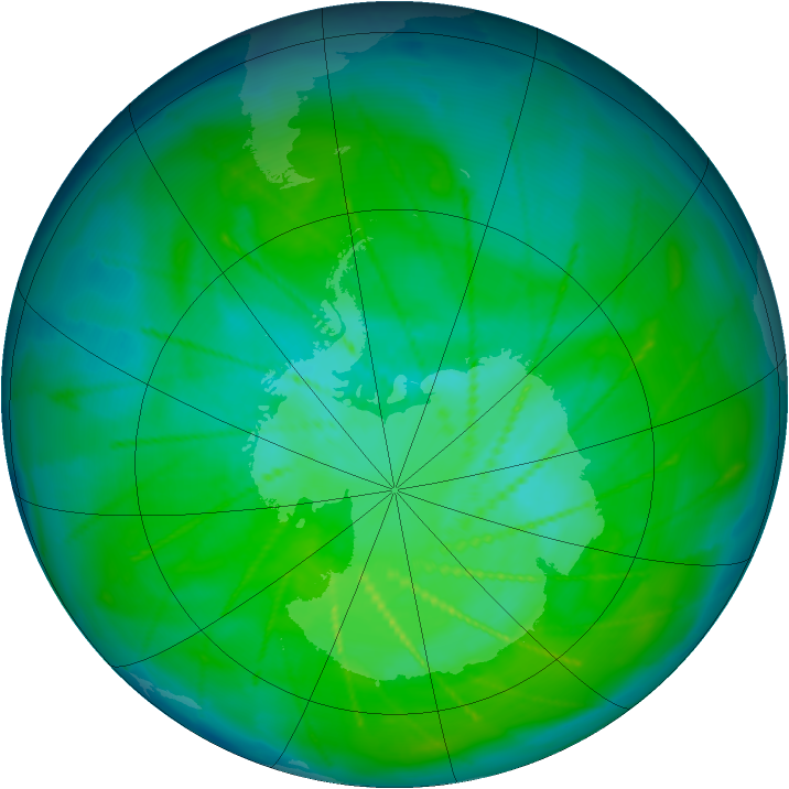 Antarctic ozone map for 27 December 2009