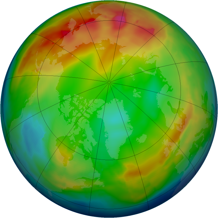 Arctic ozone map for 28 December 2009