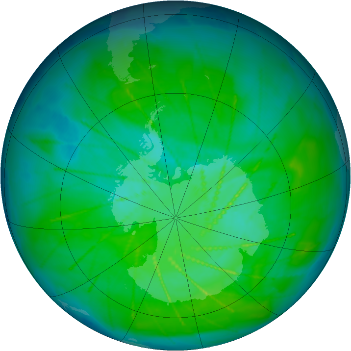 Antarctic ozone map for 28 December 2009