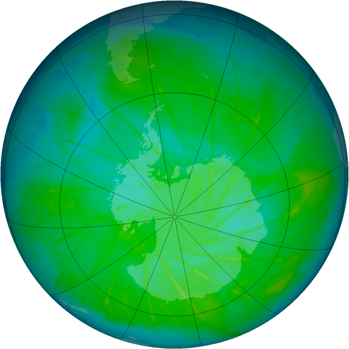 Antarctic ozone map for 29 December 2009