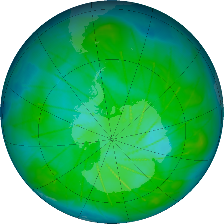 Antarctic ozone map for 30 December 2009