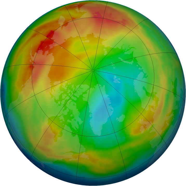 Arctic ozone map for 01 January 2010