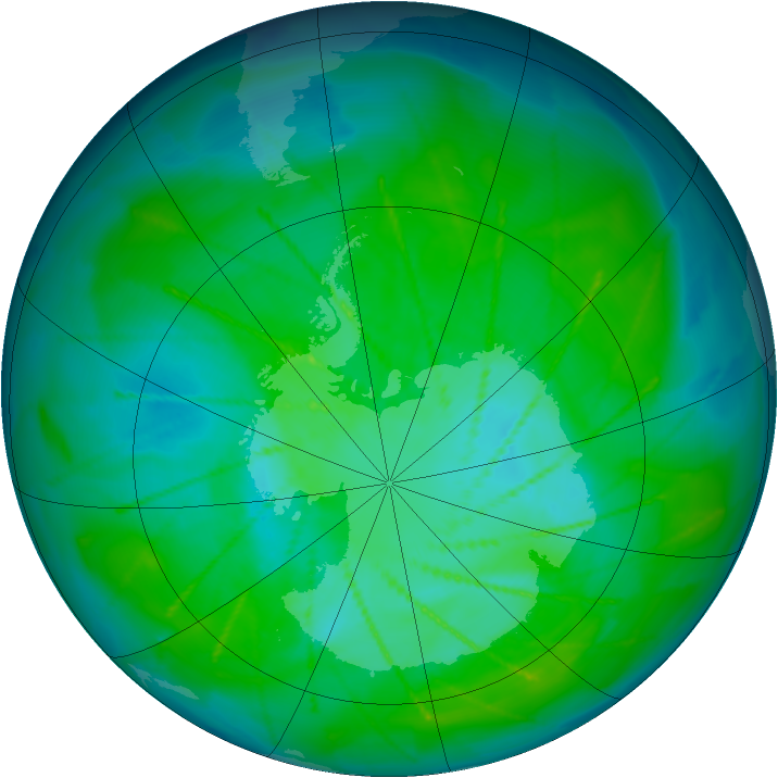 Antarctic ozone map for 02 January 2010