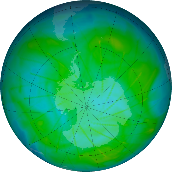 Antarctic ozone map for 03 January 2010