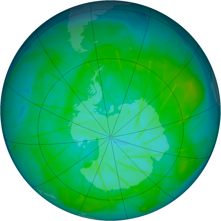 Antarctic ozone map for 06 January 2010