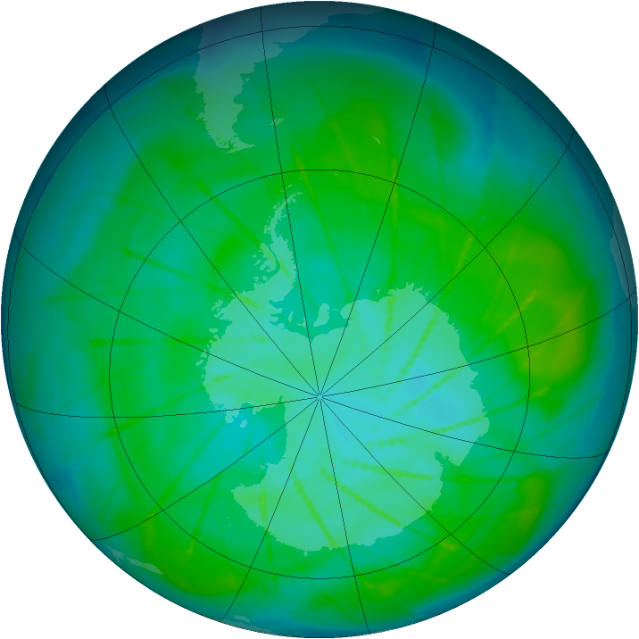 Antarctic ozone map for 07 January 2010