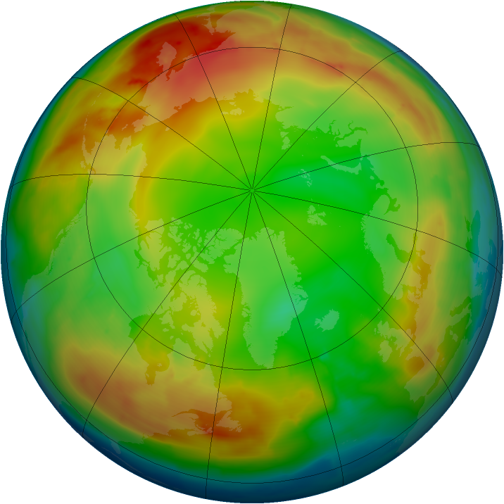 Arctic ozone map for 08 January 2010