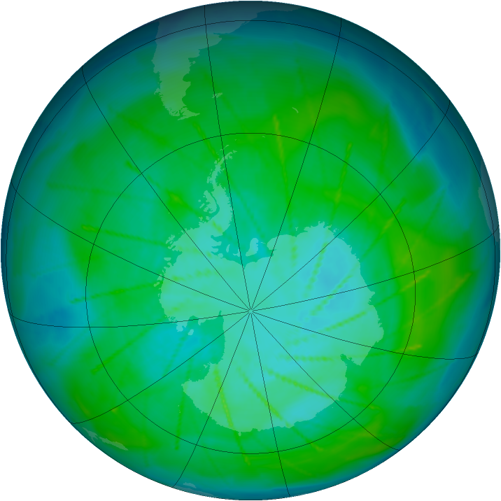 Antarctic ozone map for 08 January 2010