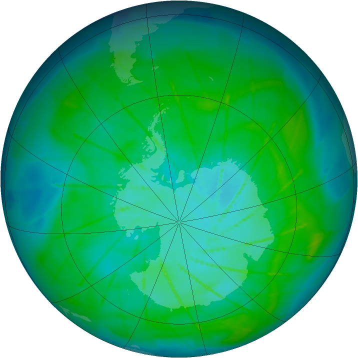 Antarctic ozone map for 09 January 2010