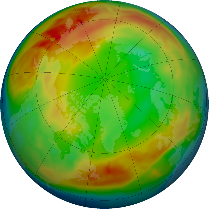 Arctic ozone map for 10 January 2010