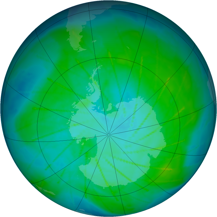 Antarctic ozone map for 11 January 2010
