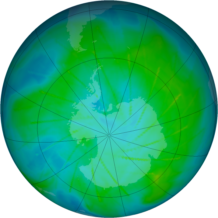 Antarctic ozone map for 12 January 2010