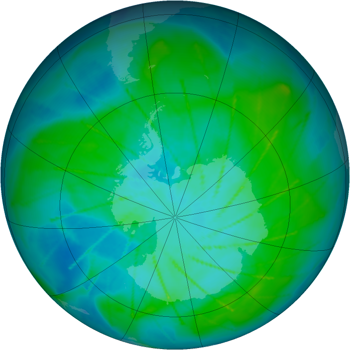 Antarctic ozone map for 13 January 2010