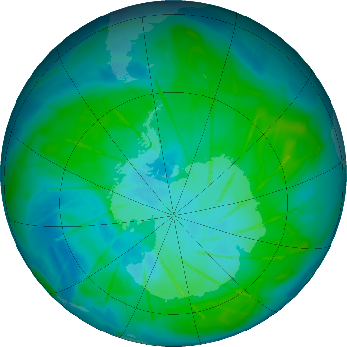 Antarctic ozone map for 14 January 2010