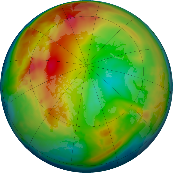 Arctic ozone map for 15 January 2010