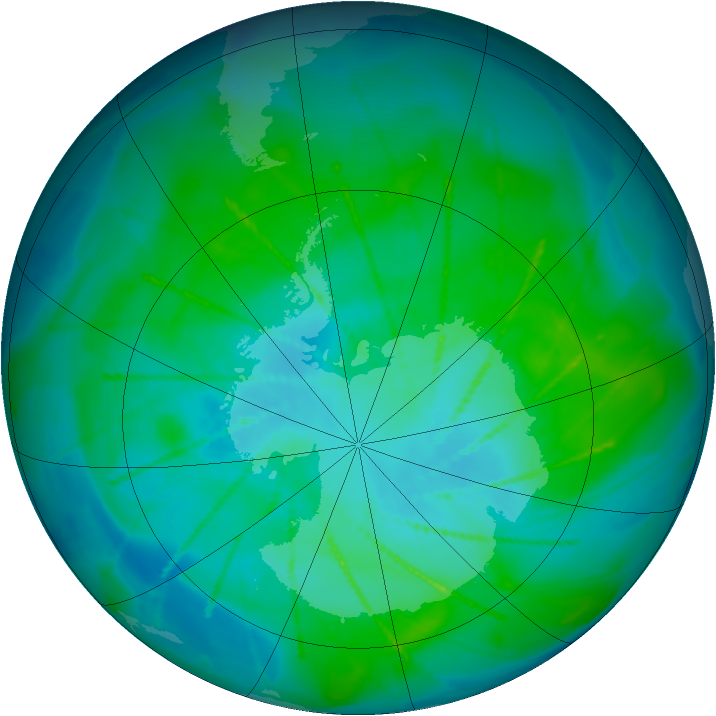 Antarctic ozone map for 16 January 2010