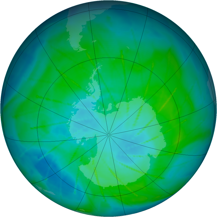Antarctic ozone map for 17 January 2010