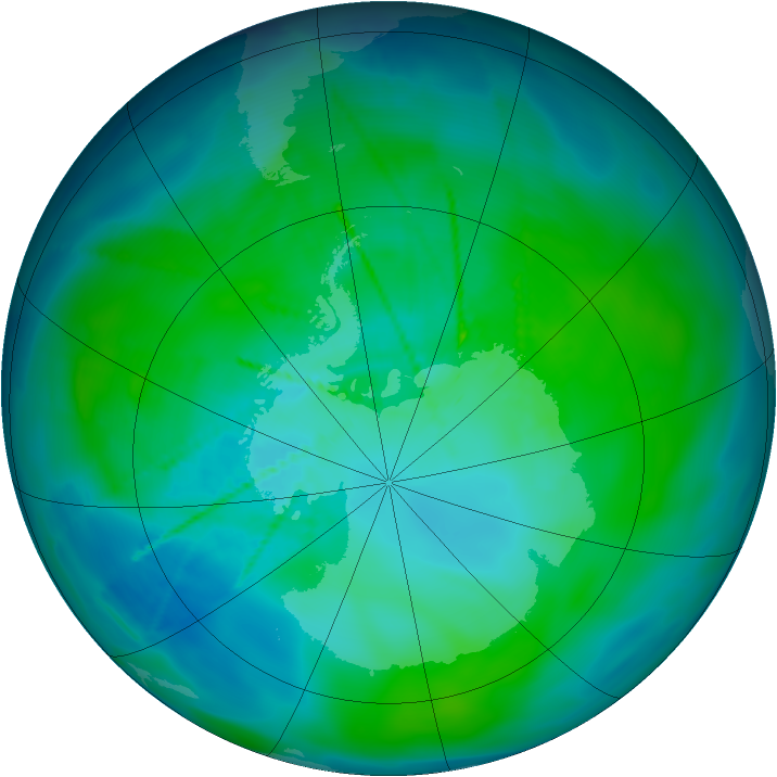 Antarctic ozone map for 19 January 2010