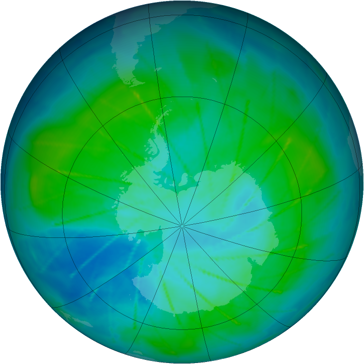 Antarctic ozone map for 22 January 2010