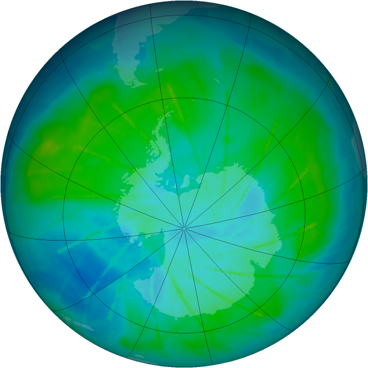 Antarctic ozone map for 23 January 2010