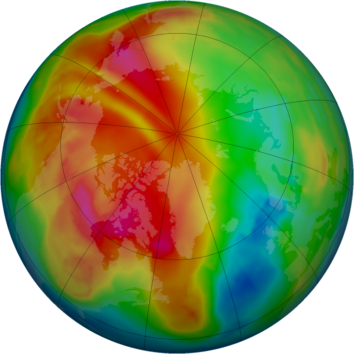 Arctic ozone map for 25 January 2010