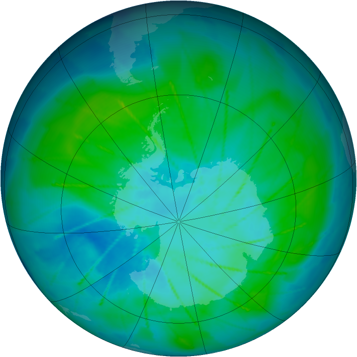Antarctic ozone map for 25 January 2010